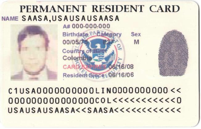 Green Card US Permanent Resident Card_PD
