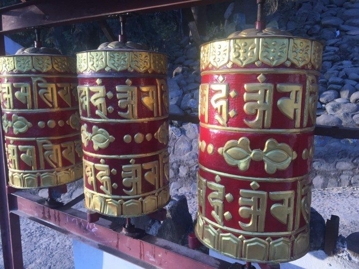 Buddhist Prayer Wheels at Boudhanth