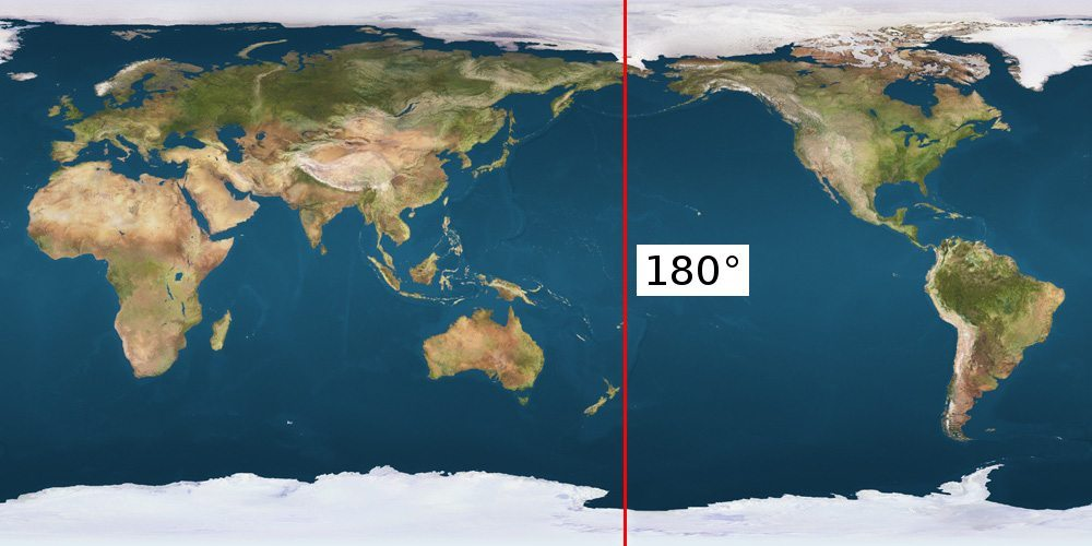 International Date Line (IDL) on the Earth's map_with_180th meridian