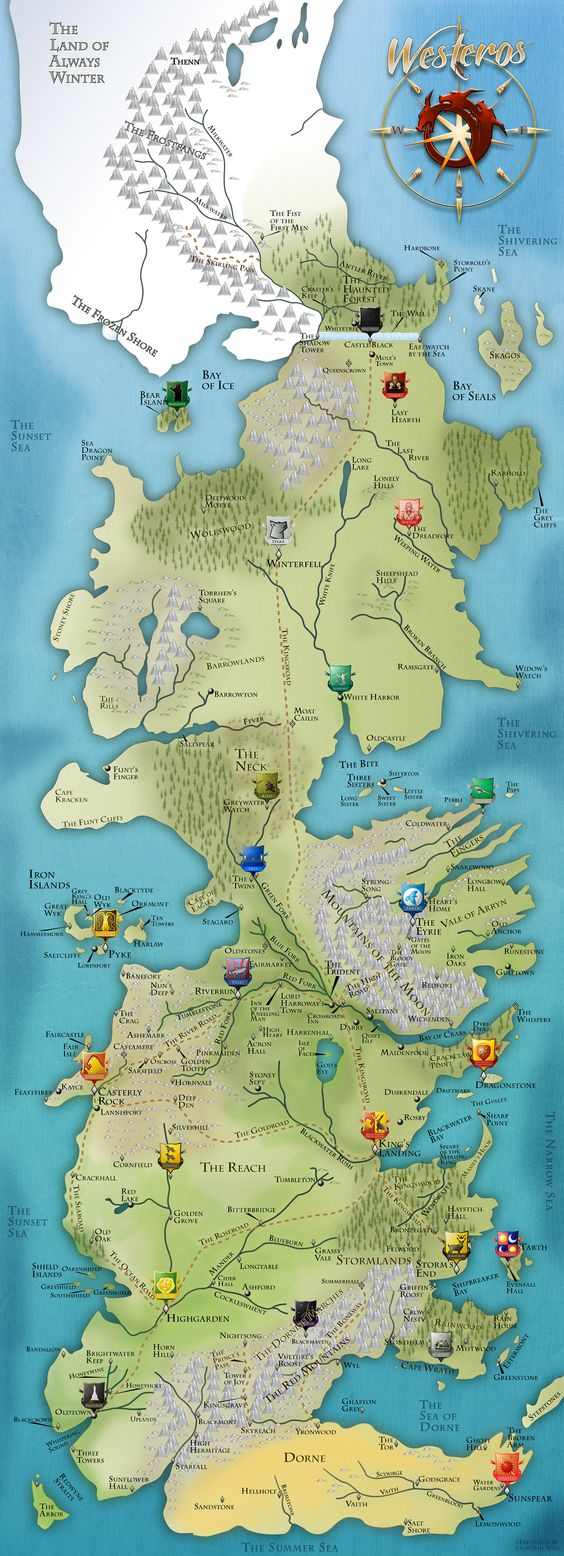 Beautiful game of thrones maps of westeros the known world the world map of fictional worlds in game of thrones gumiabroncs Gallery