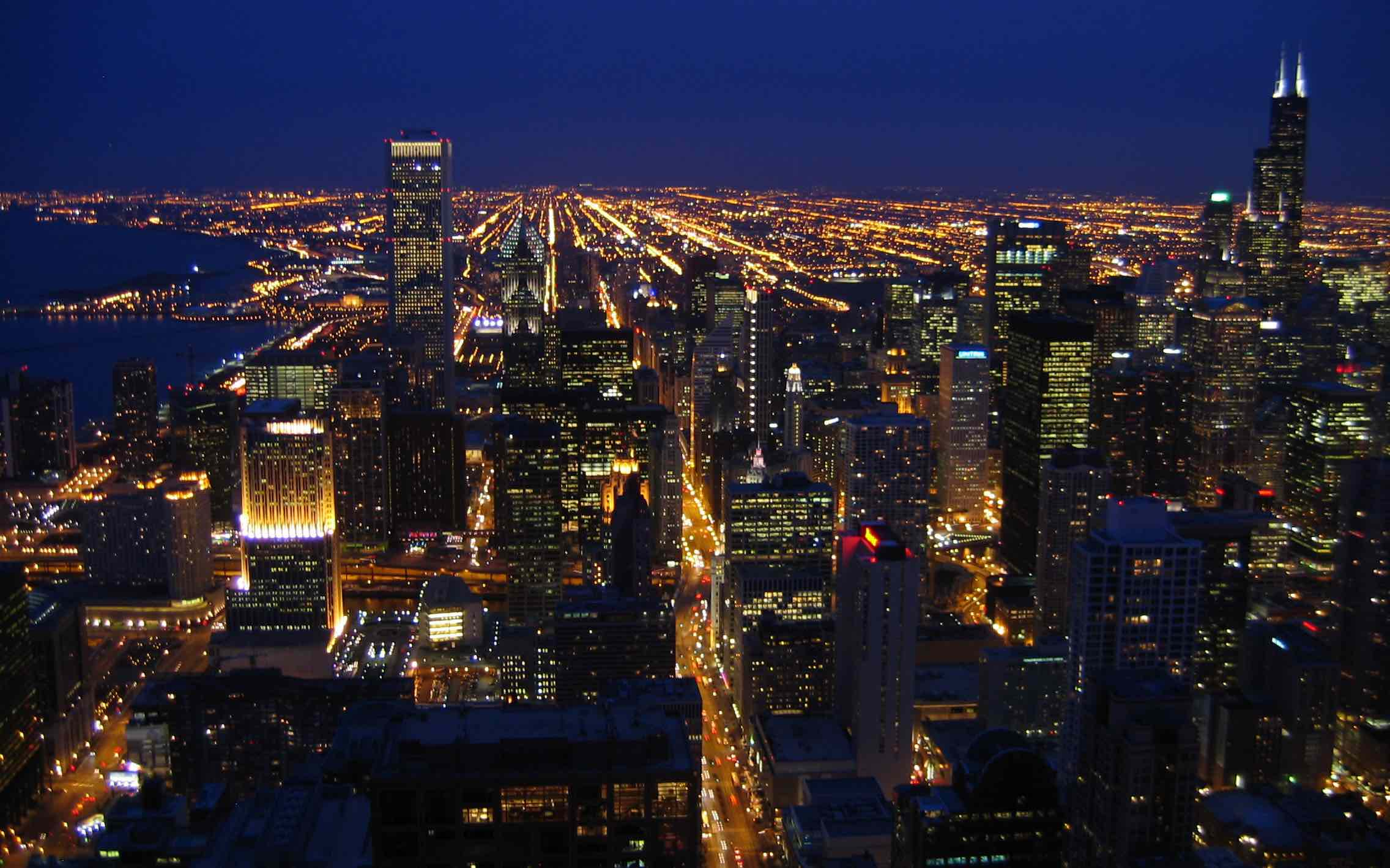 List of Largest US Cities. Biggest American Cities. Top US Cities. Chicago skyline. The downtown at night.