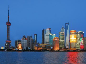 Shanghai city in china. One of the largest cities in the world.