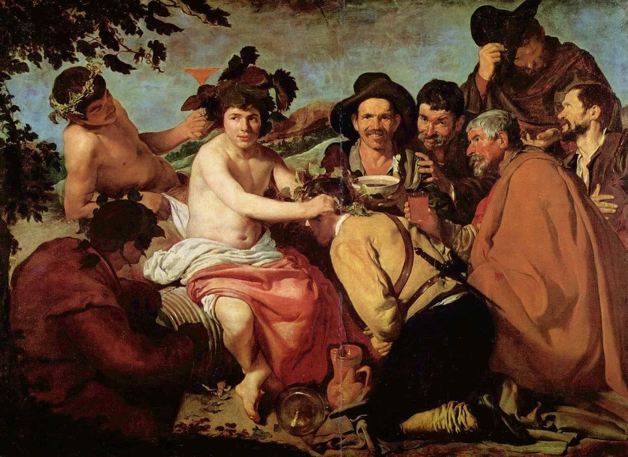 the triumph of bacchus by Velazquez_Prado Museum_Madrid_PD