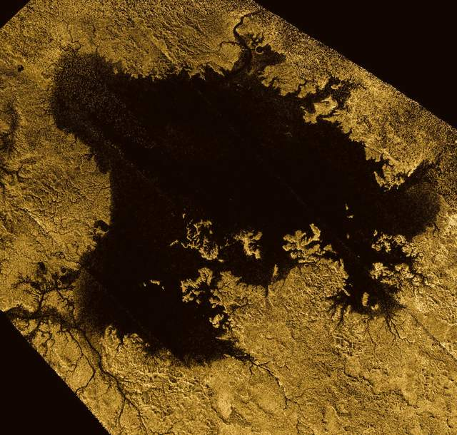 Liquid methane lake on Titan