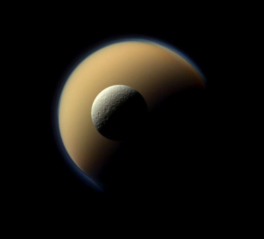Titan and Rhea_Saturn largest moons