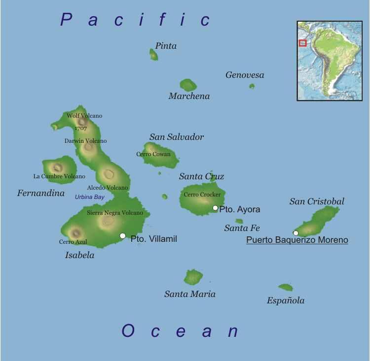 Map_Galapagos Islands_Ecuador_South America