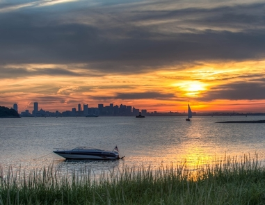 Boston Harbor Islands sunset view