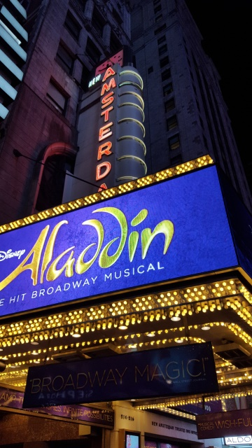 Aladdin show at Broadway. A First Time European Visitor Guide to New York City.