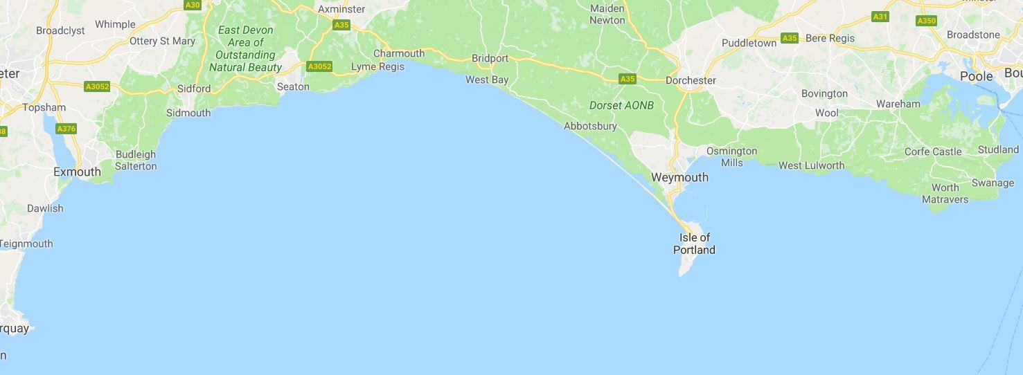 Jurassic Coast Southern England Map