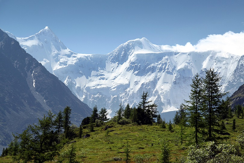 Mt Belukha in Siberia is the highest peak of Altai Mountains range on the border with Kazakhstan.