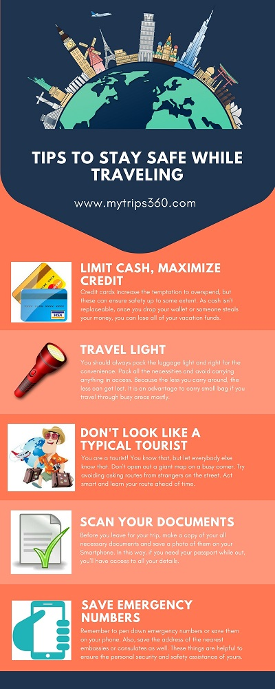Tips to plan on Budget travel. Tips to stay safe while traveling infographic