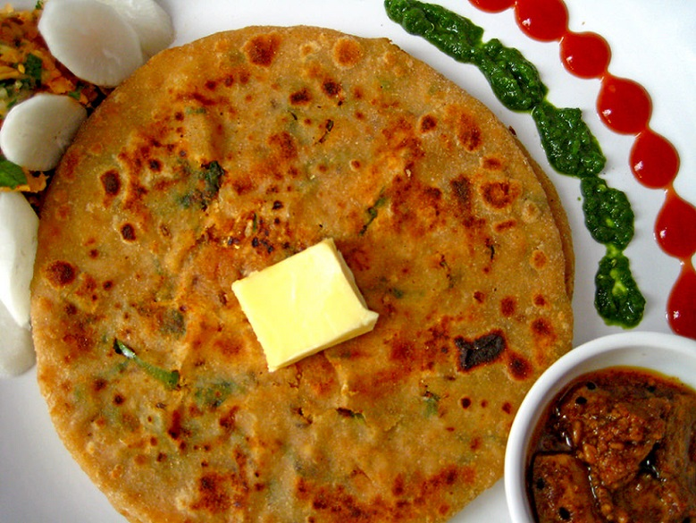 Mooli Paratha with butter on top