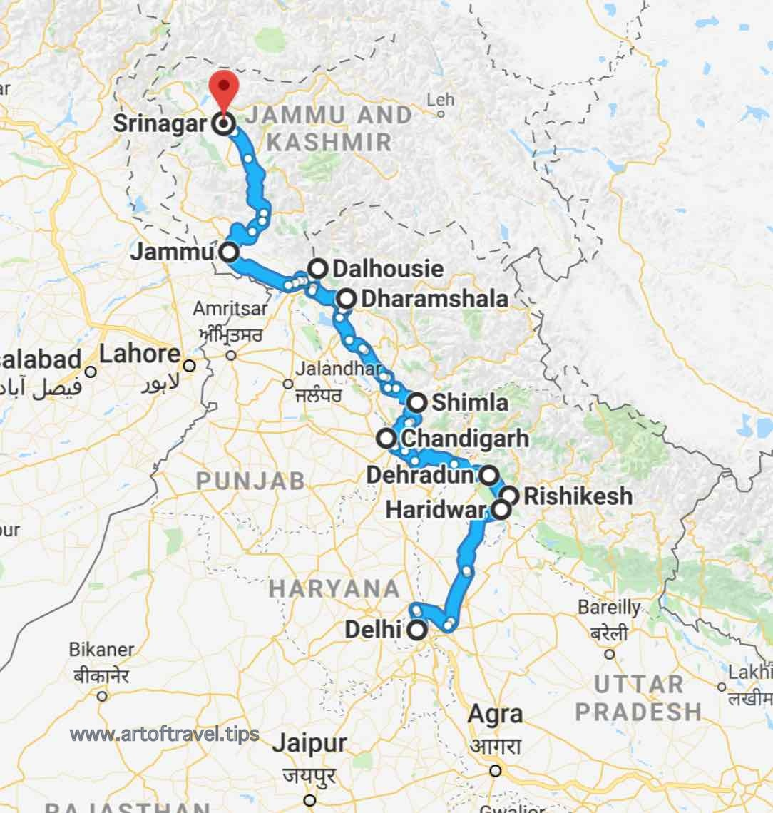Delhi to Srinagar_All India 29 States Road Trip by Car Bike