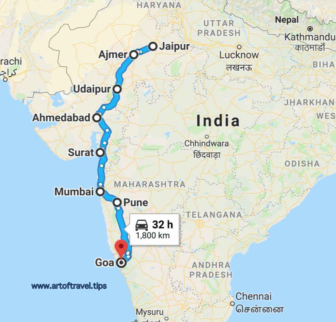 Jaipur to Goa_All India 29 States Road Trip by Car Bike