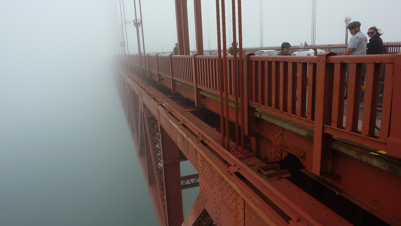 Walking on golden gate bridge_PD