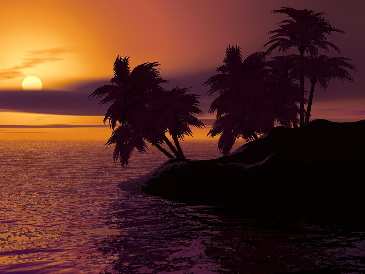 Sunset view in a Caribbean Island_PD