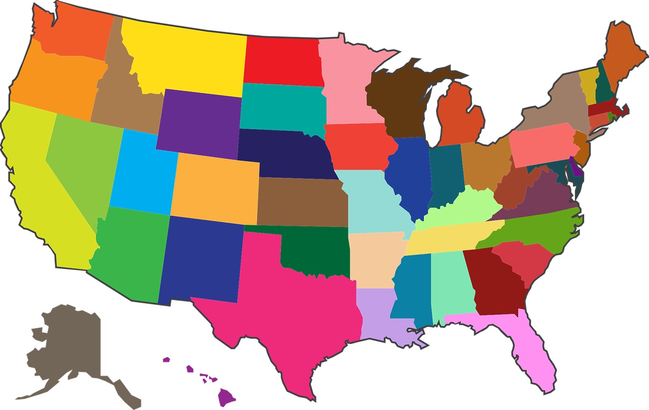 US States Map of America_USA_PD