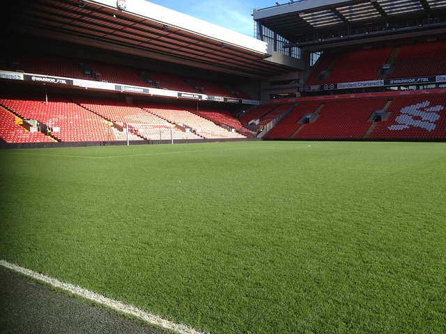 Anfield football stadium in Liverpool England_PD