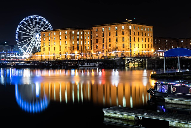 Liverpool city night time reflection in water_England_PD