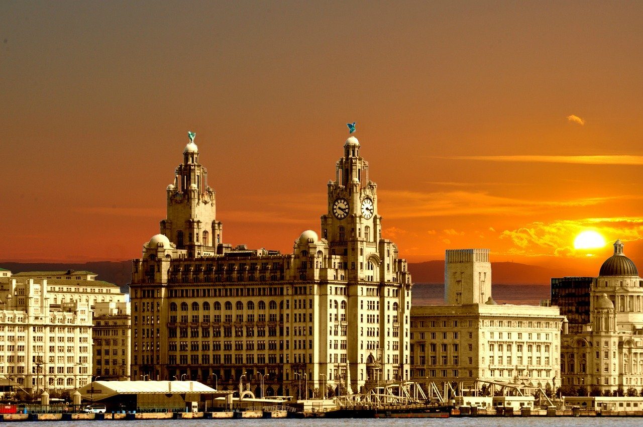 Sunset view from Three Graces Liverpool England_PD