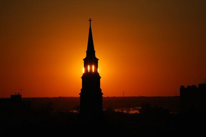 sunset view across the church_USA_PD