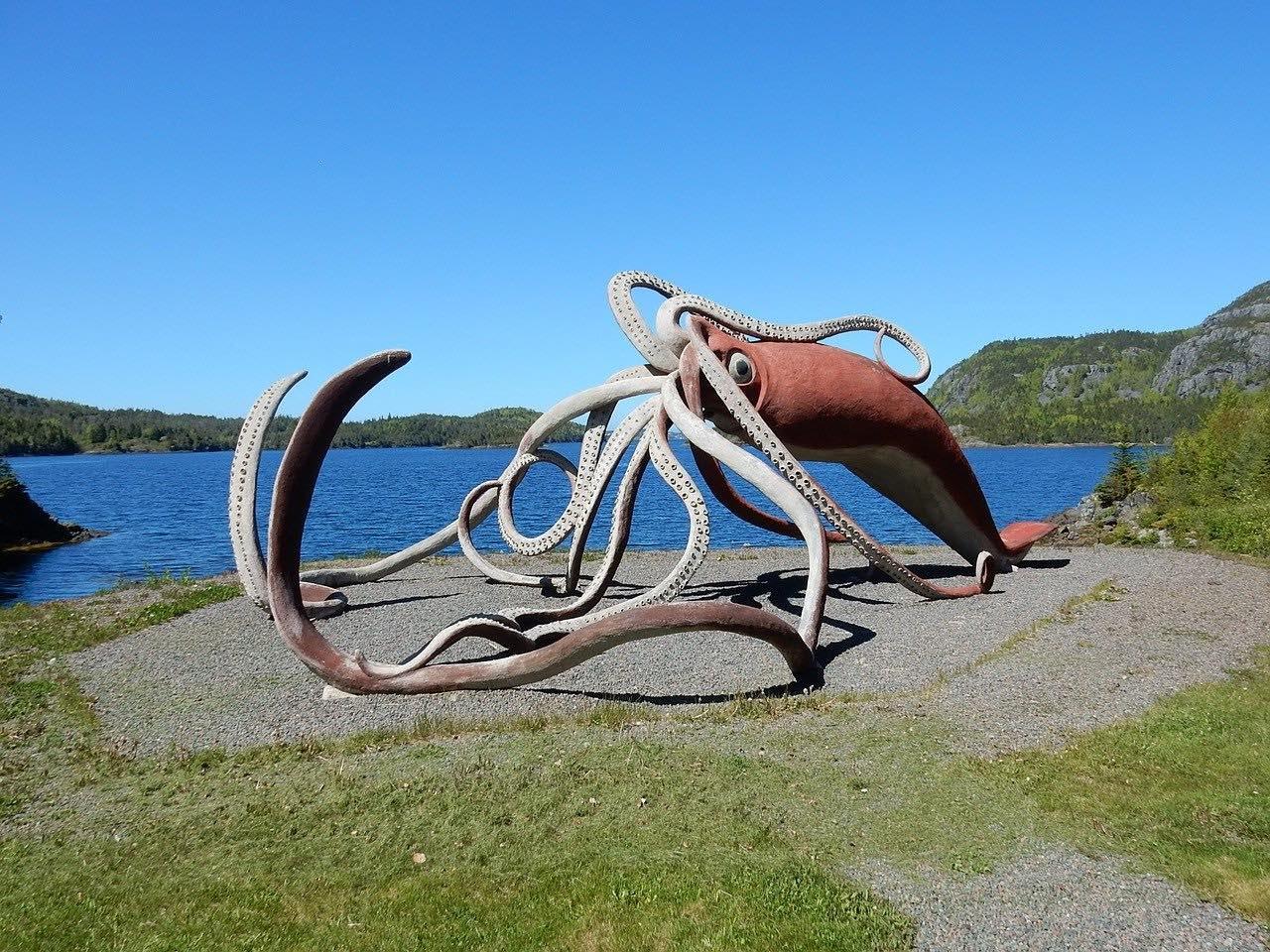 Squid Sculpture_Giant Squid Roadside Art_Newfoundland Canada_PD