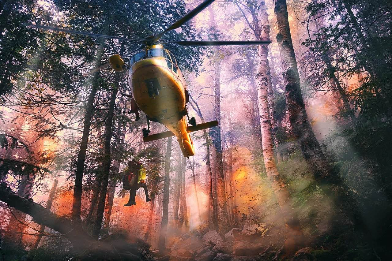 helicopter helping with forest fire_PD